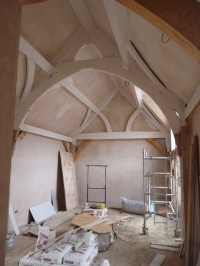 Oak frame in place