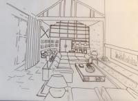 Line drawing of contemporary living space