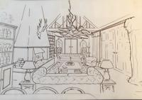 Line drawing of traditional living space