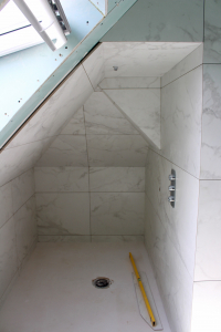 New shower area in eaves