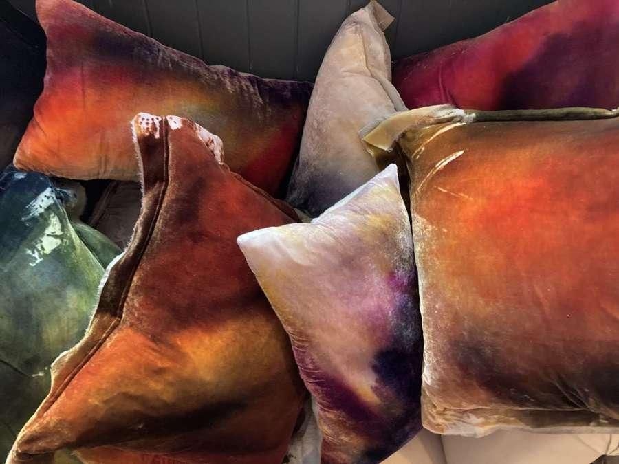 Silk velvet cushions