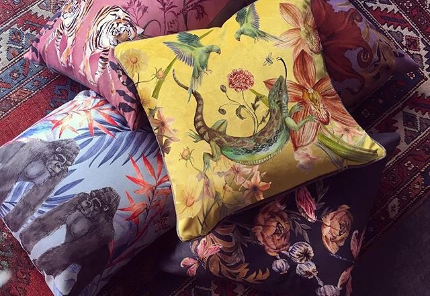 Hand-illustrated suede cushions