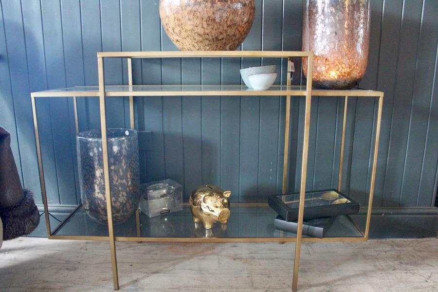 Gold and glass sidetable