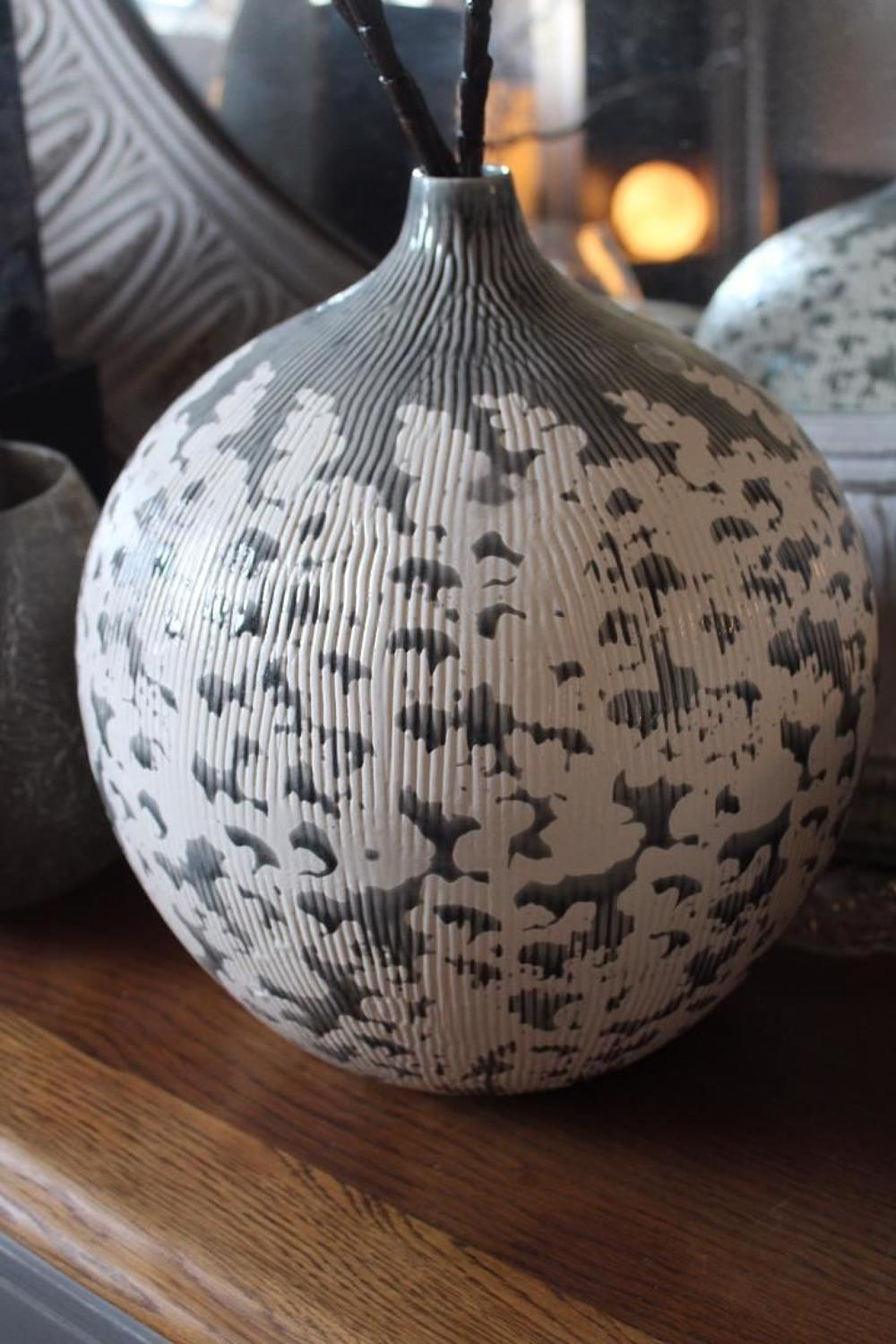 Ribbed Ceramic Vase
