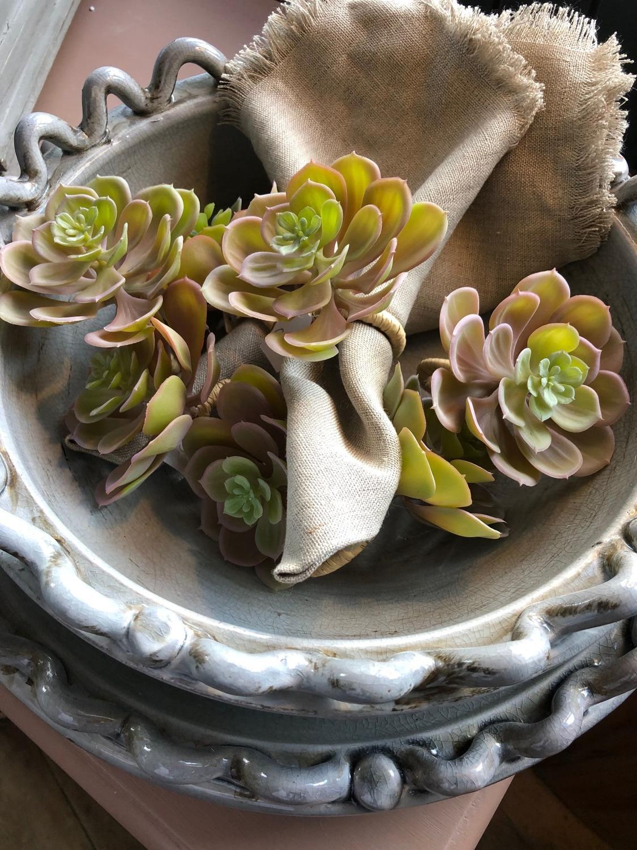 Echeveria napkin rings